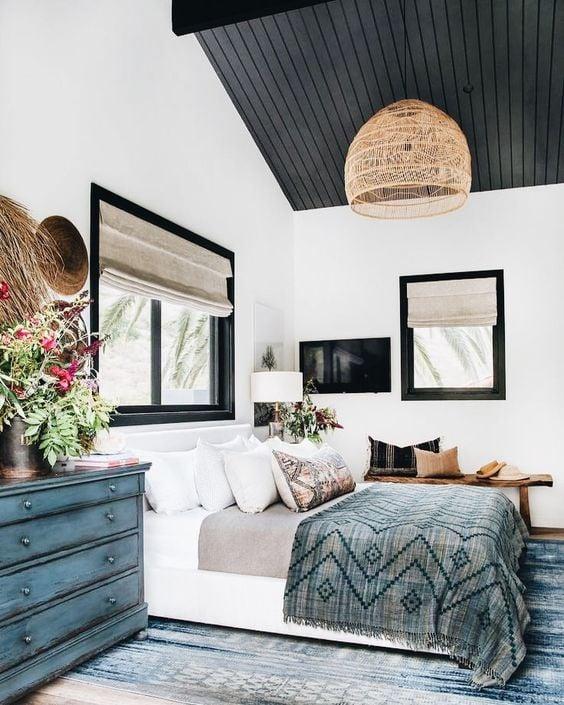 Bedroom Design - Black Painted Ceiling