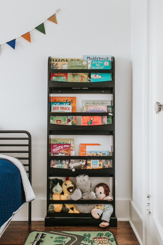 Black Wall Bookcase for Kids Rooms