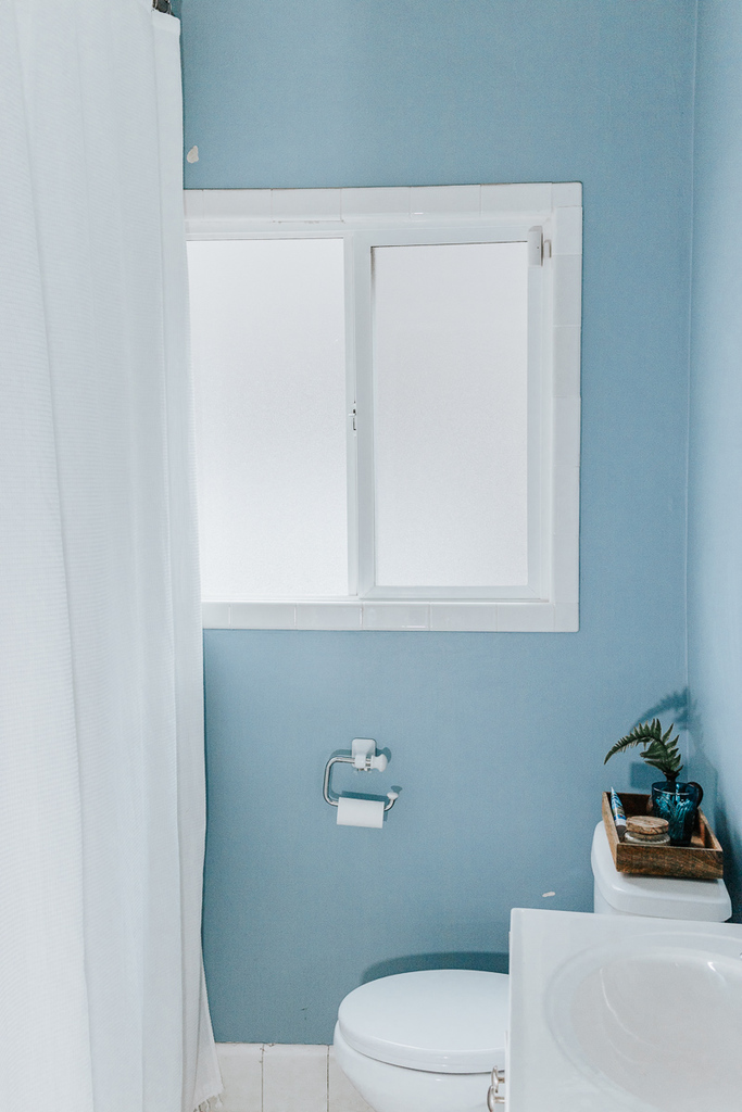 Blue Bathroom with window, small bathroom decor