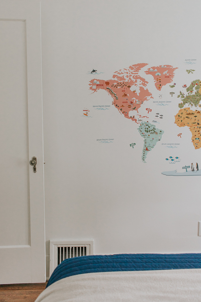 World Map Wall Decal for Boys Rooms