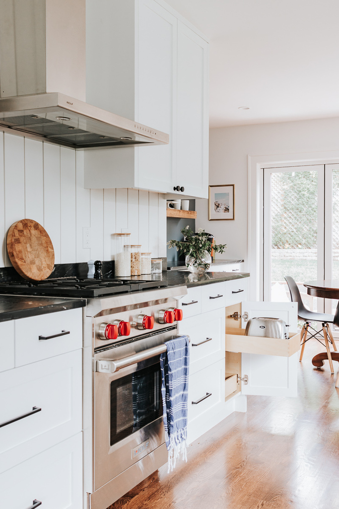 Toaster stored away in pull out cabinet - Kitchen Decor Ideas