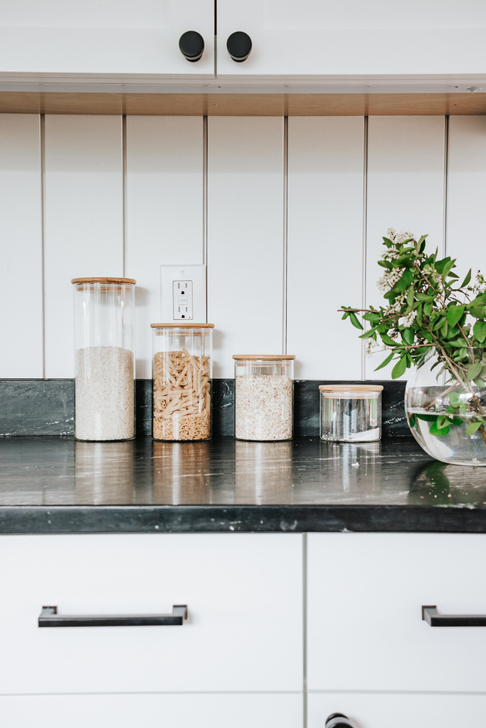 Clear Kitchen Canisters on Soapstone Countertops - Kitchen Decor Ideas