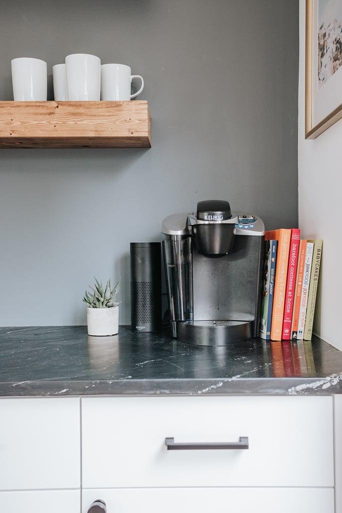 coffeemaker kuerig on soapstone counters