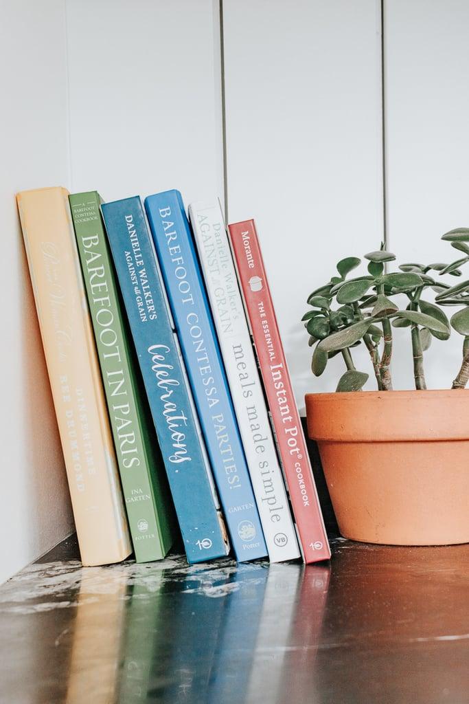 cookbooks next to terracotta planter jade plant