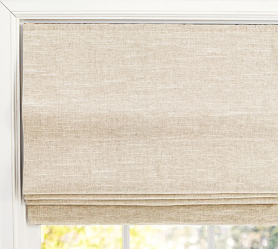 linen roman shade pottery barn