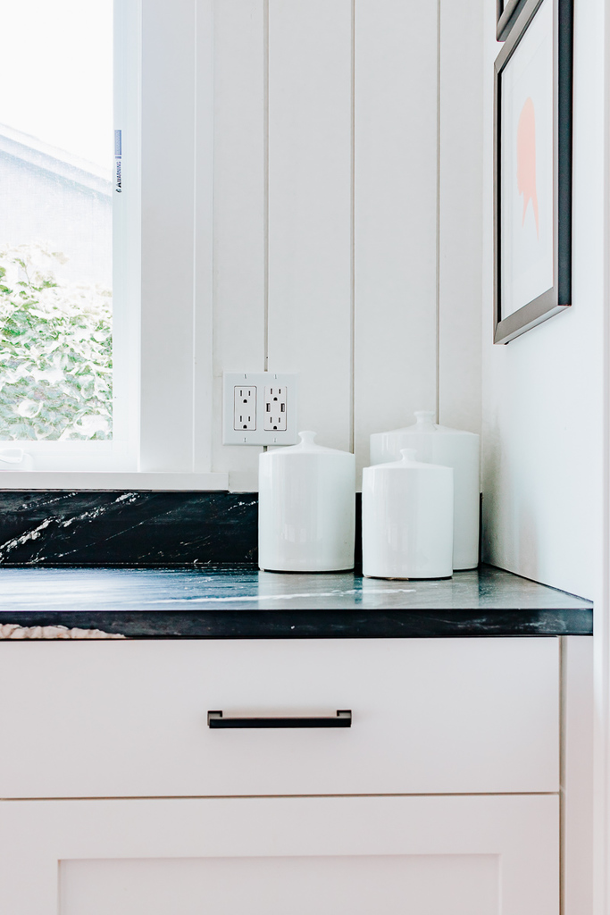 White Canister Set in Kitchen Counter Corner