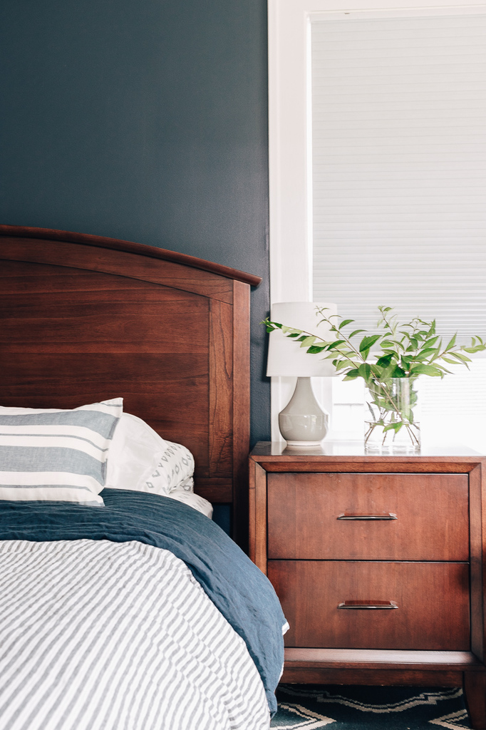 Blue Bedroom with wood furniture- inexpensive home decor finds from Amazon and other stores!  Check out this post! #homedecorideas