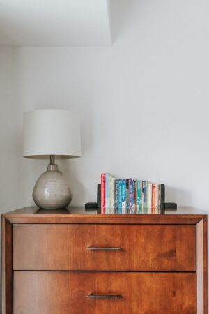 showing DIY wood bookends on a table with a lamp - decor hint - Home Decor and DIY