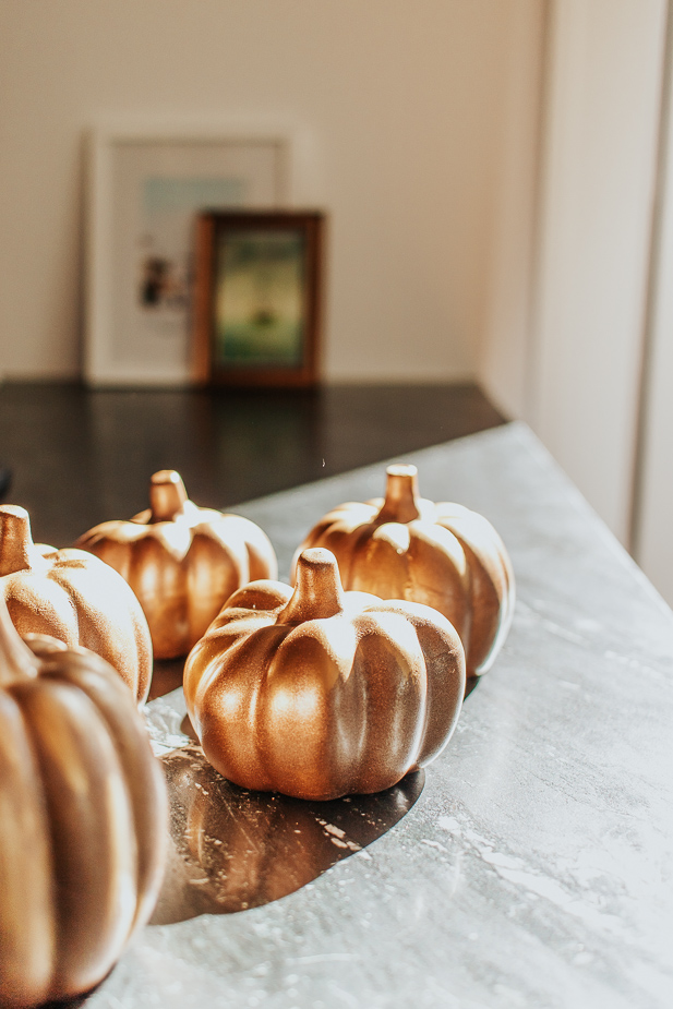 Copper pumpkins on kitchen counter