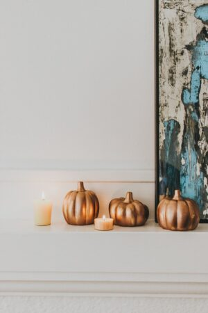 beautiful copper painted pumpkins crafts - dollar store hack - decor hint - fall decor for your home