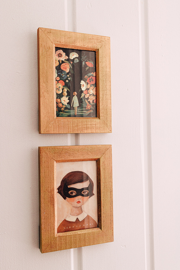 gold frames on a wall
