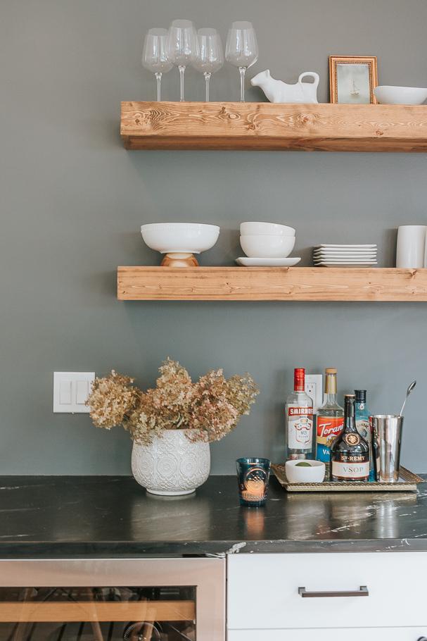 dried hydrangea arrangement on kitchen counter