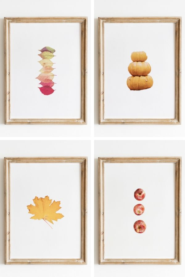 Photo of four watercolor fall prints in gold frames - free printables - fall decor - decor hint