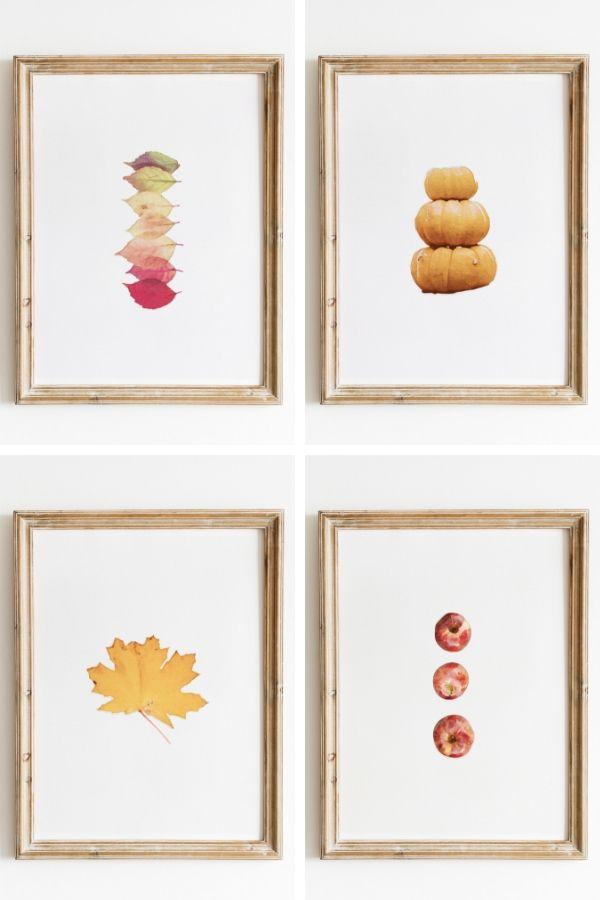 Apples, Leaves, and pumpkins watercolor fall artwork
