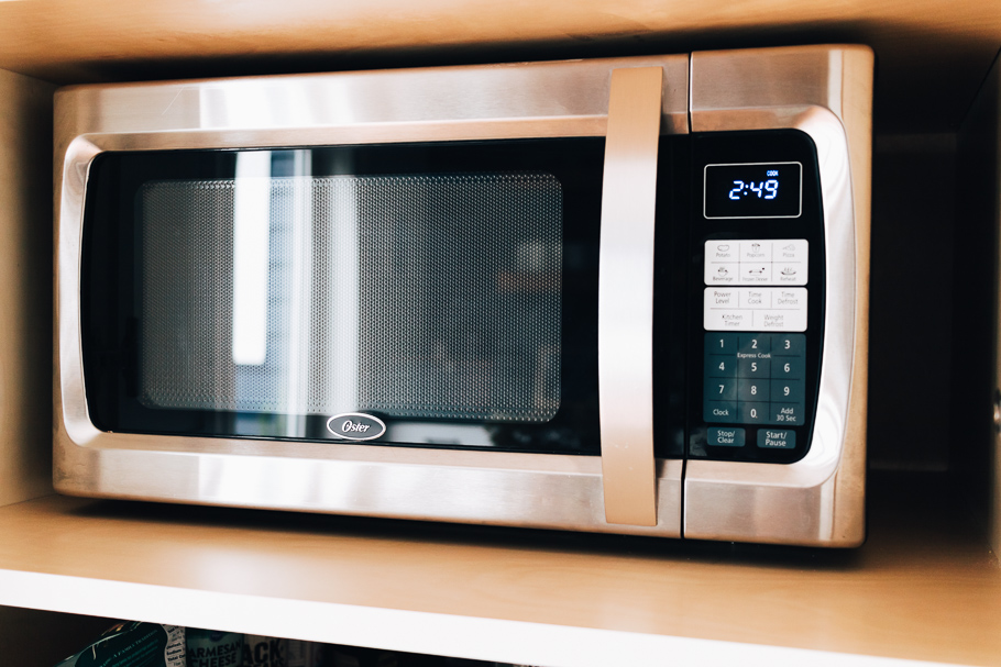 showing clean stainless steel microwave