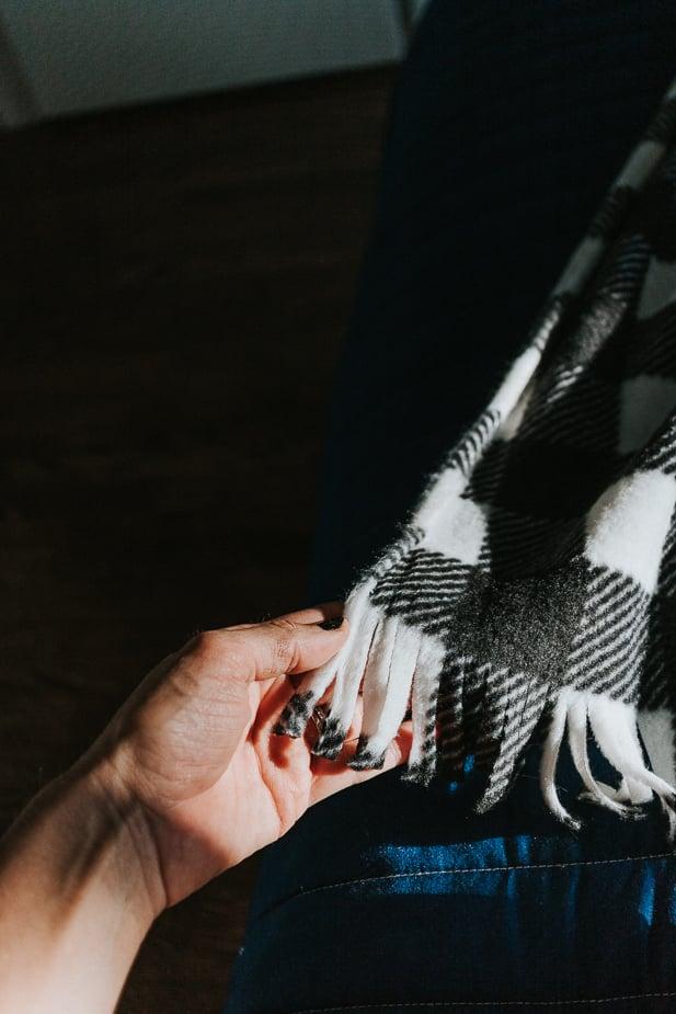 Fringe on fleece blanket