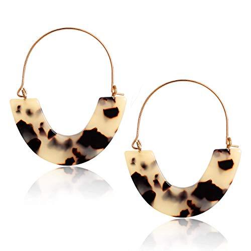 Tortoise Hoop Earrings Statement Wire Resin Earrings Fan Drop Dangle Earring for Women