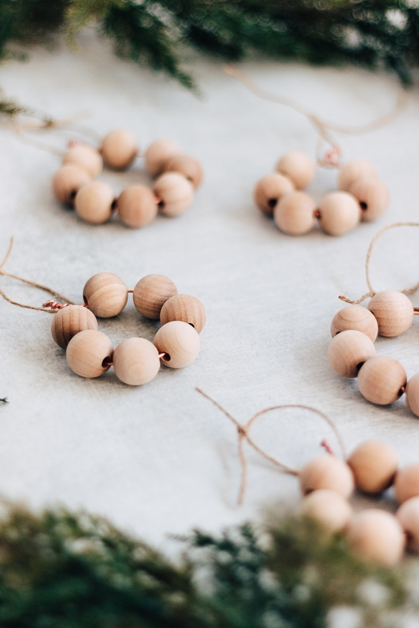 up close view of several wood bead ornaments