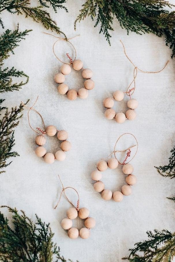 how to make wood bead ornaments diy, christmas