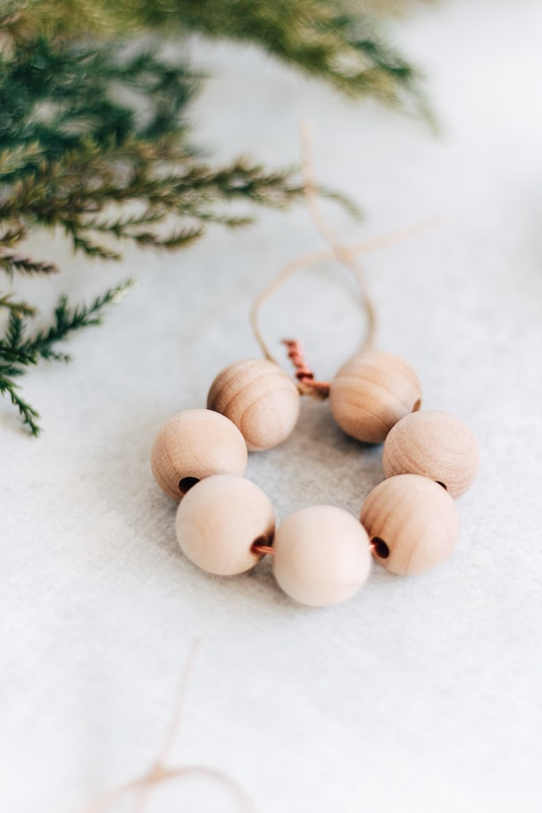 up close image of wooden bead ornaments