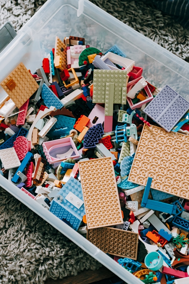 Legos in a plastic container