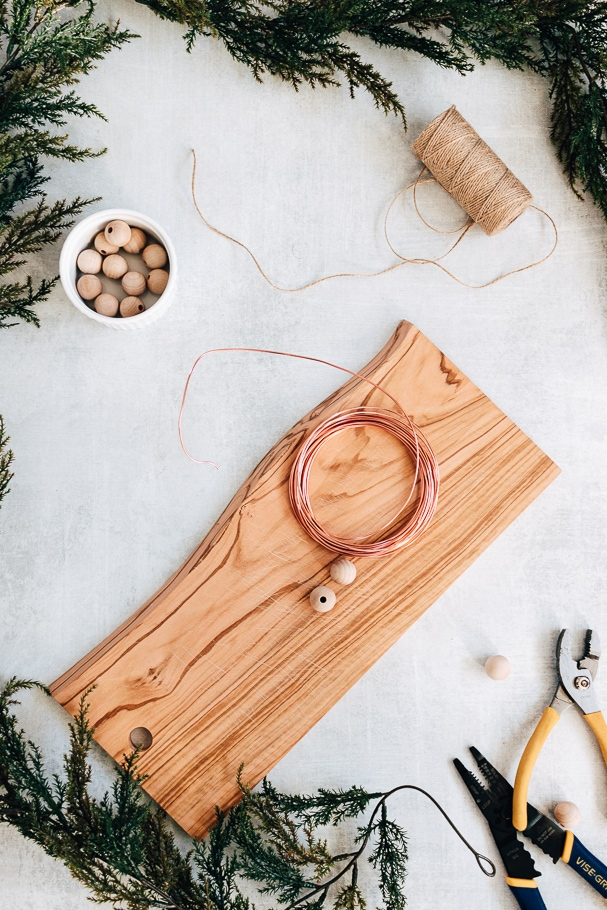 materials needed to make wood bead ornaments