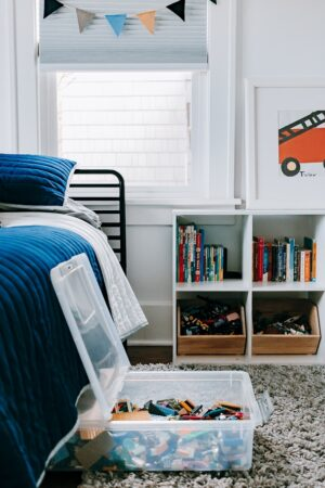 kids room decor showing lego storage under the bed