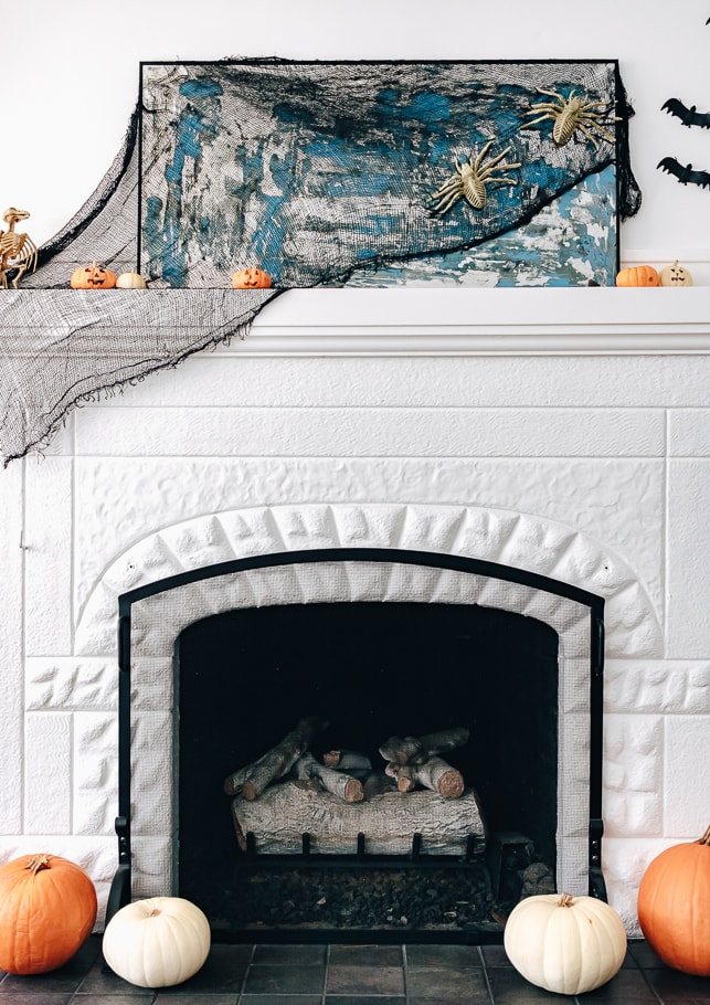 fireplace decked out for Halloween