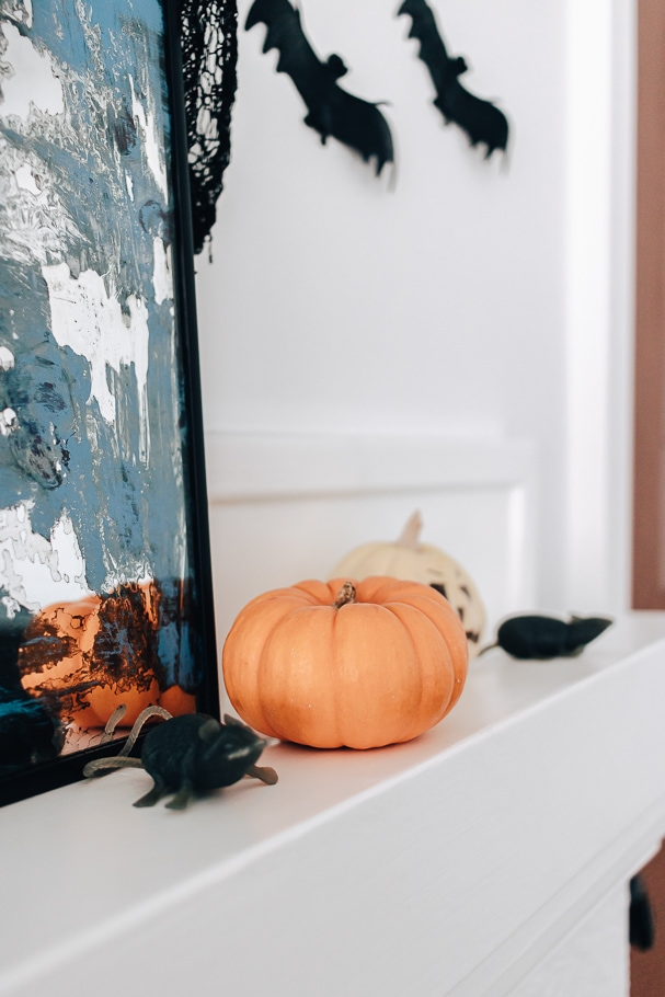 mice and pumpkins on halloween mantel