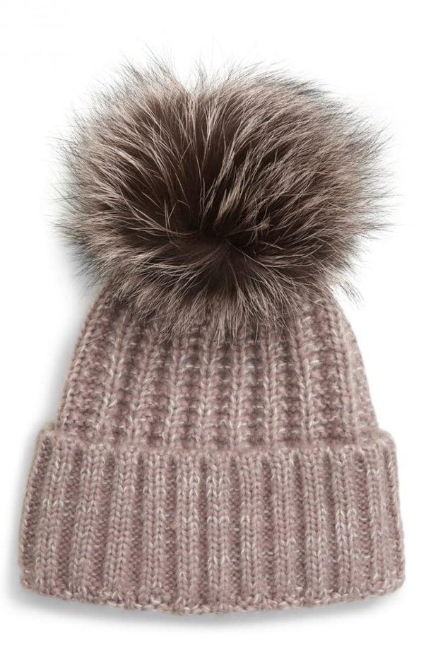 Beanie with Genuine Fox Fur Pom