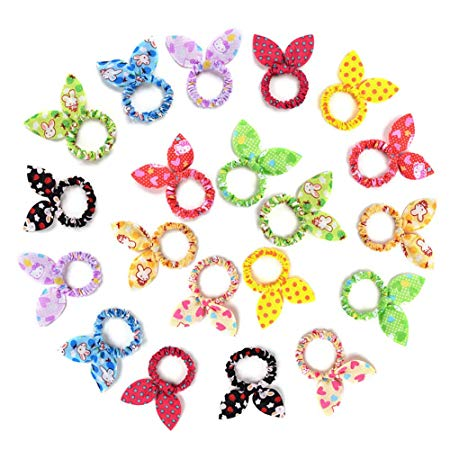 Tsful 20 PCS Cute Girls Rabbit Ear Hair Tie Bands Ropes Ponytail Holder