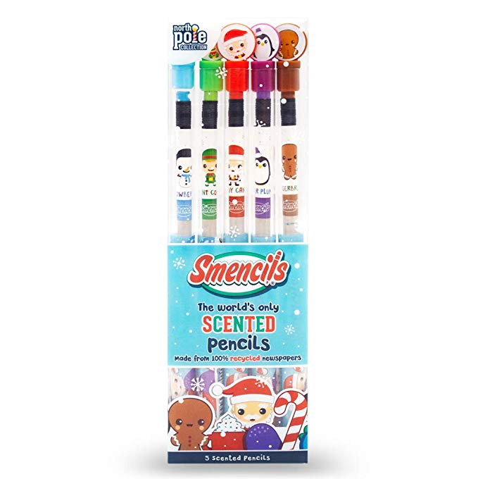 Scentco Holiday Smencils - HB #2 Scented Pencils, 5 Count
