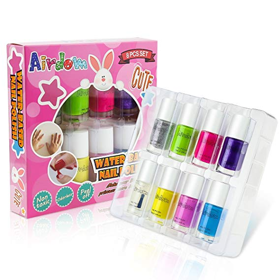 Airdom Non-Toxic Water-Based Kids Nail Polish - Natural Odorless Safe Peel Off Nail Polish Set Quick Dry Nail Polish Gifts Toys Kit for Girls Kids Toddlers Including 7 Colors and 1 Top Coat
