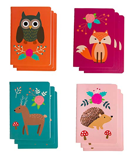 Mini Notebooks - 12-Pack Small Notebooks for kids, 4 Woodland Creatures Designs, Field Notebook, Pocket Journal, Memo Book, Perfect for Journaling, Diary, Note Taking, 3.5 x 5 Inches