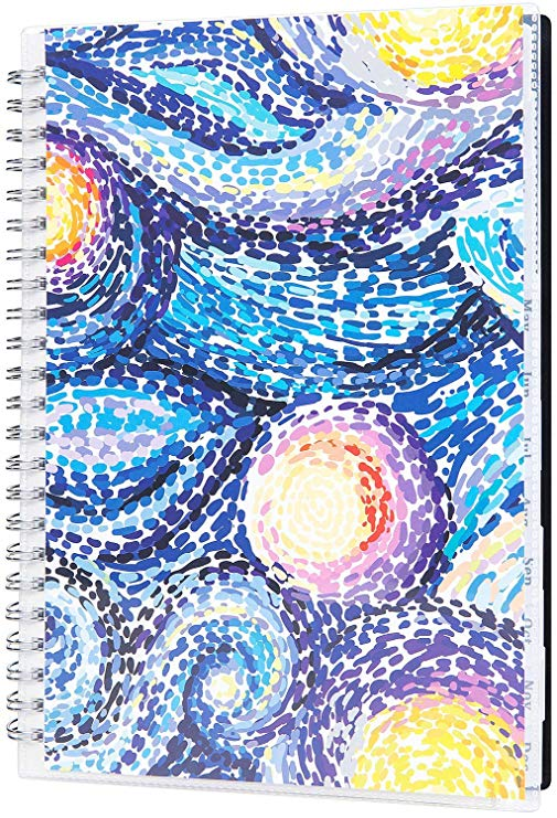 """2020 Planner - Weekly & Monthly Planner 2020, Jan - Dec, 6.25"""" x 8.3"""", 12 Monthly Tabs, Twin Wire Binding, Clear Cover Pockets"""