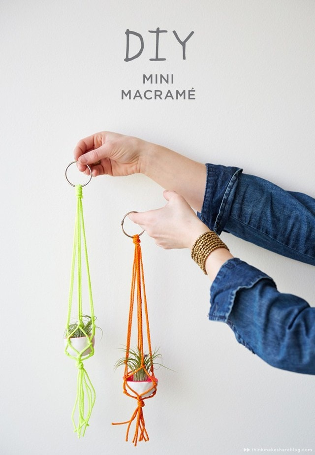 beginner macrame projects - mini plant hangers