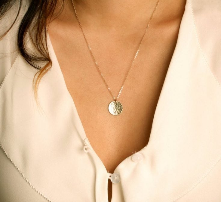 Large Coin Necklace Monogram, Disk Initial Necklace, Monogram Necklace, Personalized Circle Neckl...