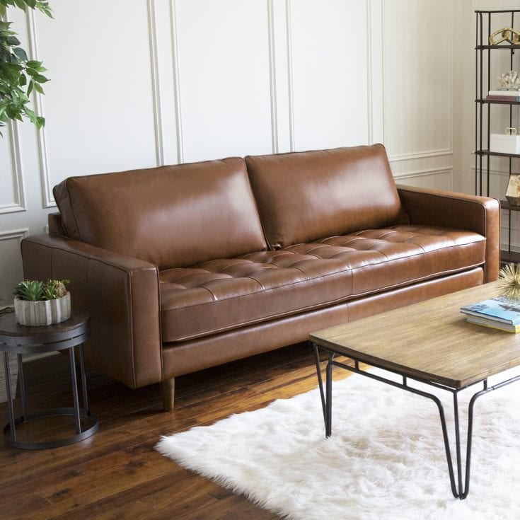 Devon & Claire Mid Century Top Grain Leather Sofa