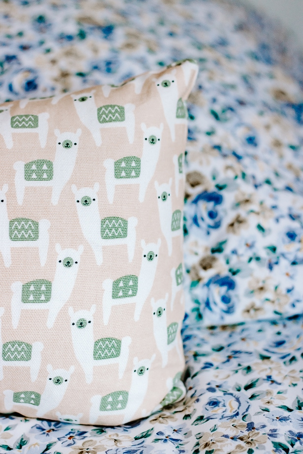 Blue Floral Sheets with Llama Pillow