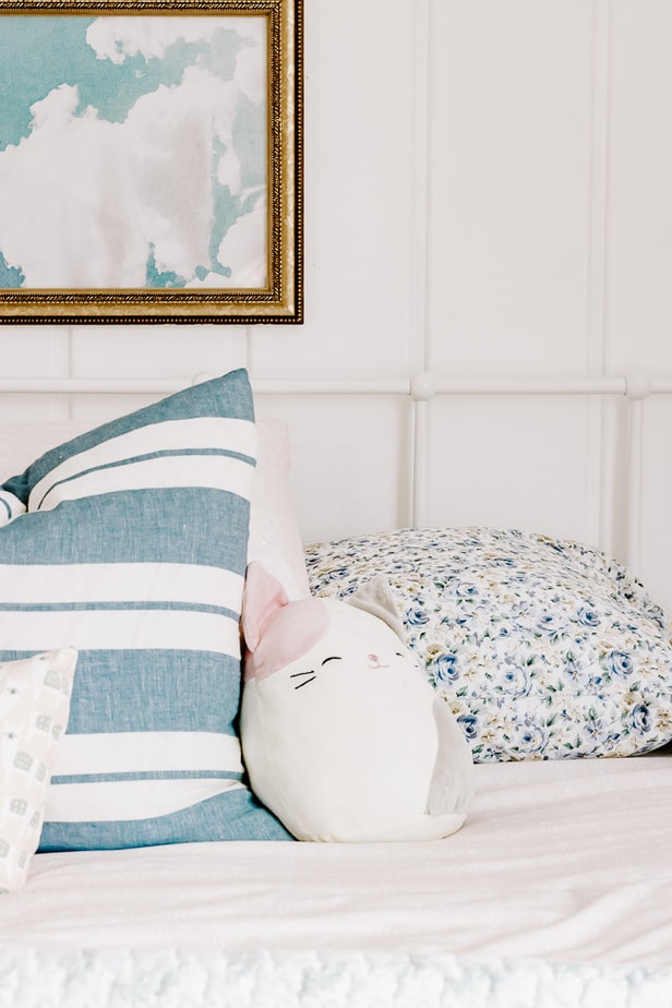 Blue Striped Pillow with Pink Bedding