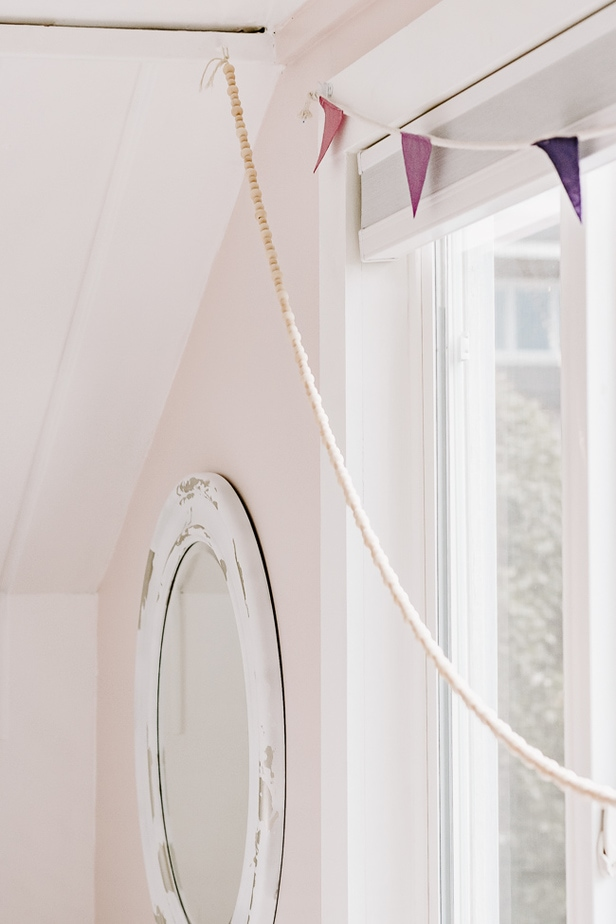 DIY Bunting, Chippy Paint Mirror, Wood Bead Garland