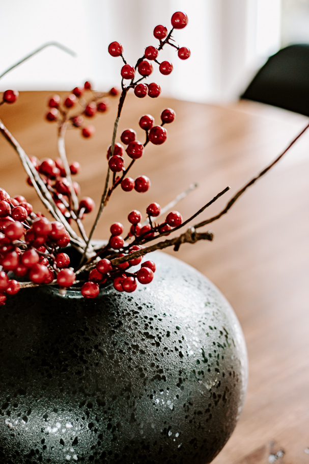 Red Berries in a Black Vase - Christmas Decor