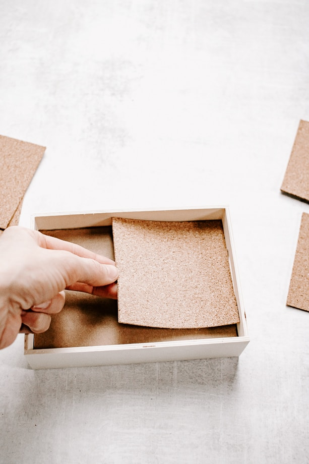 Fit cork pieces into your box