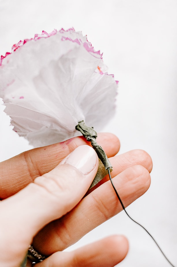 apply floral tape around wire stem - making paper craft flowers