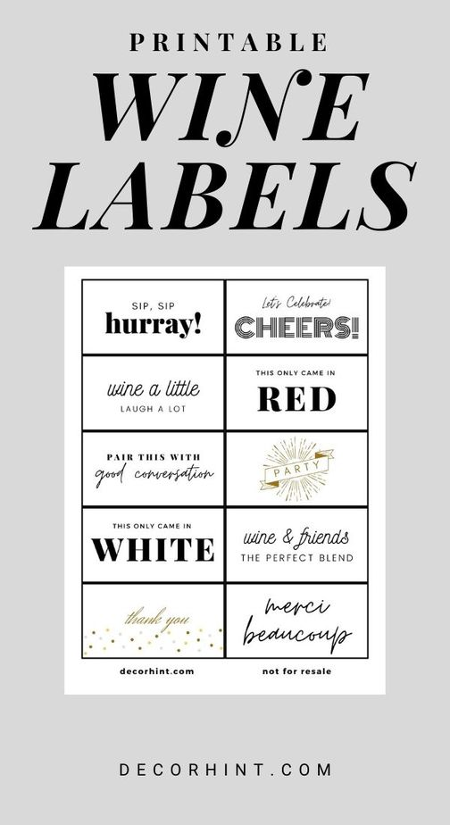 printable wine labels - decor hint