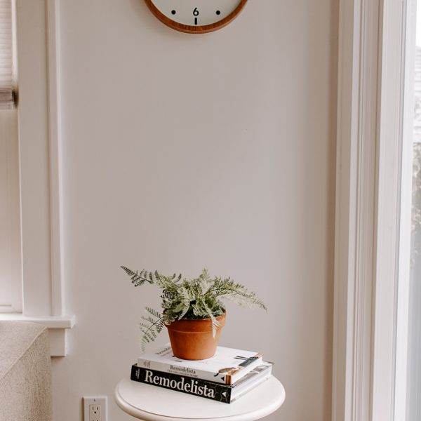 faux fern on a table with books and clock