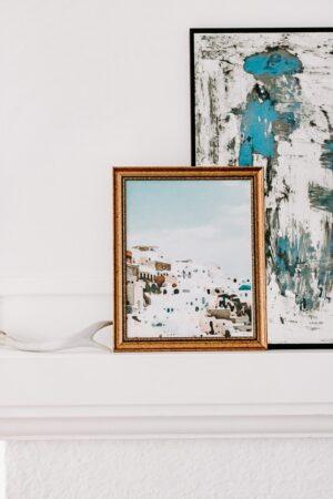 blue watercolor art in vintage frame (2)