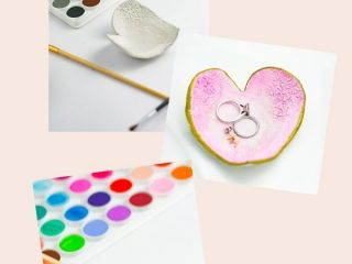 Pretty DIY Clay Jewelry Dish - Make this pretty heart shaped DIY Clay Jewelry Dish just in time for Valentine's Day!