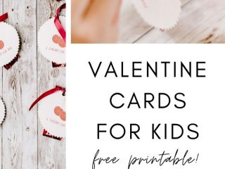 DIY Printable Valentine's Day Cards Cherry - Pink