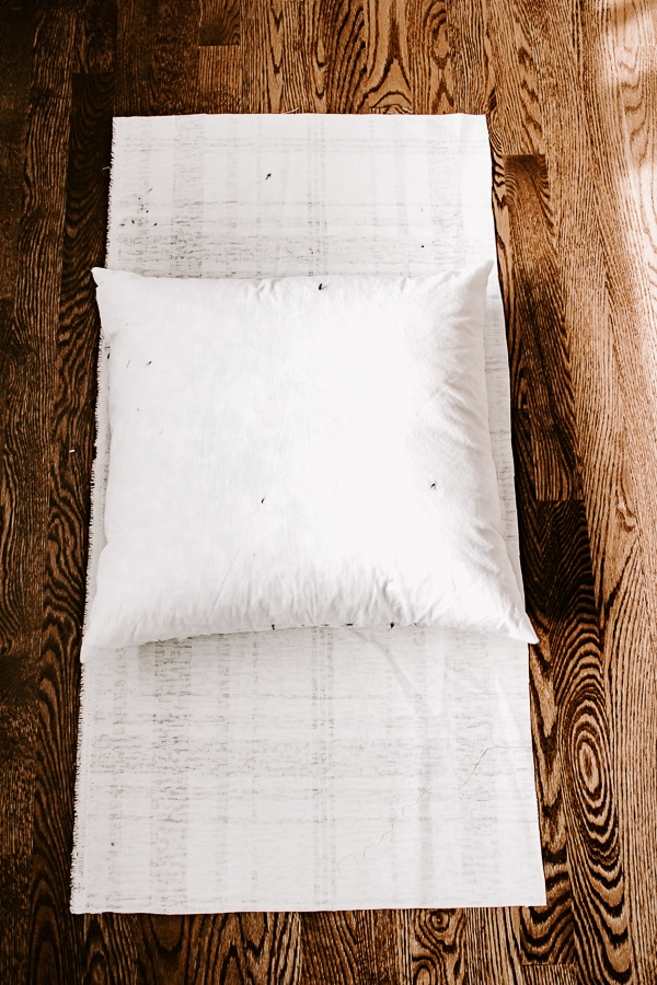 lay pillow down on fabric